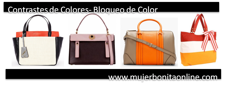 tendencias en bolsos contraste de color